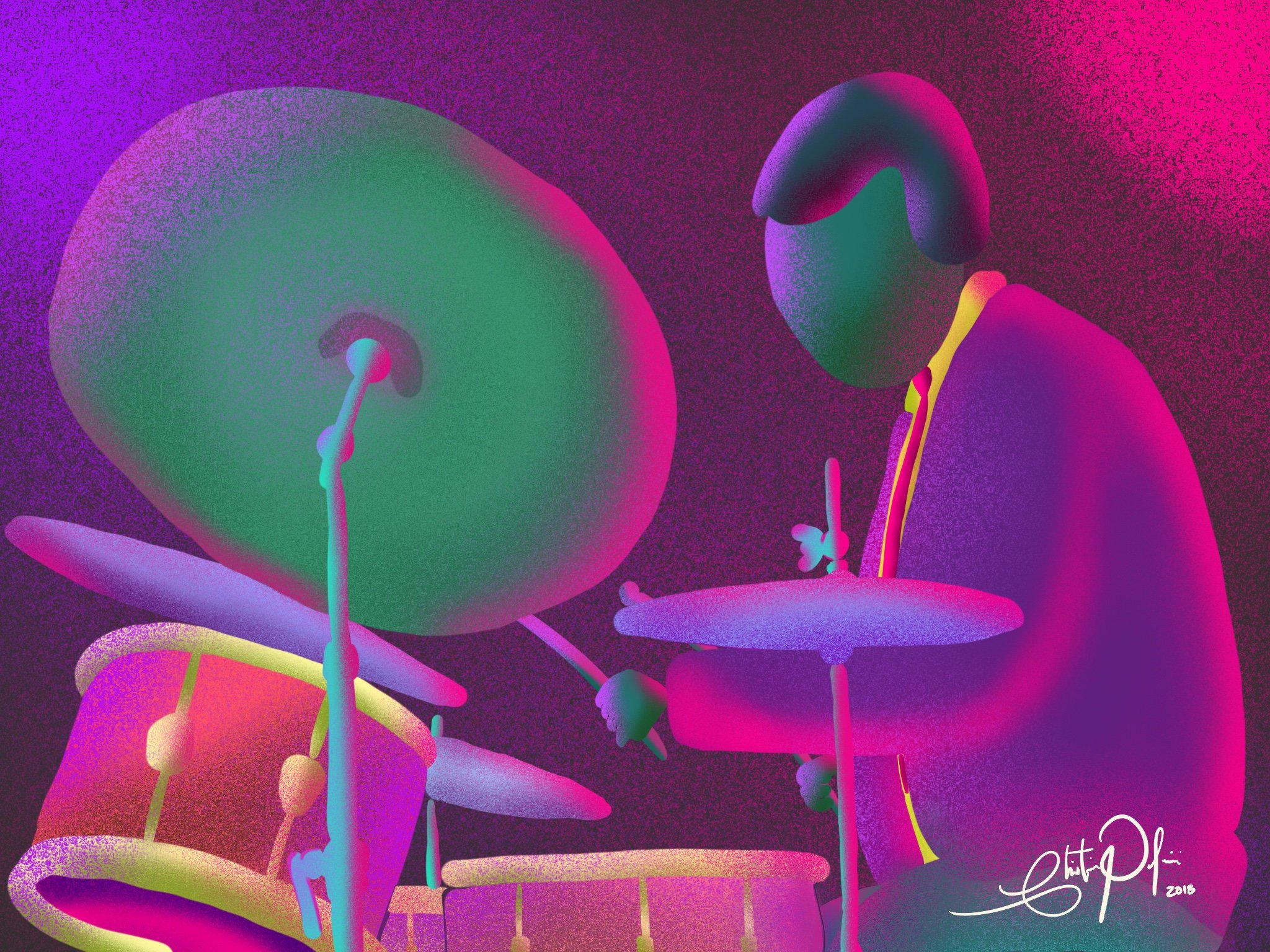 "Christian Palmieri's drawing ""Jazz Drumming"""